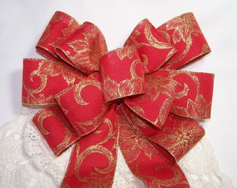 Classic Red Bow with Gold Poinsettia Pattern Handmade Great for Wreaths Holiday Christmas Decoration Gift Wedding Pew Bows