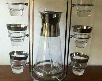 Vintage Glasses with Caddy