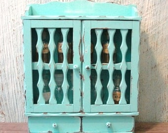 Upcycled Repurposed Spice Rack with Doors and Drawers, Painted and Distressed in Aqua, Spice Jars Included
