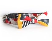New Color! Castro, Dog Cat Pet Bow tie Collar, dog collar, bowtie, leash, cat breakaway buckle collar, made in usa, designer collar for dog