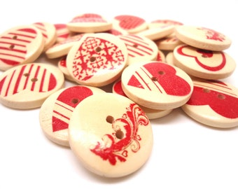 25 x Heart Painted Wooden Buttons - Red Heart Buttons - 20mm