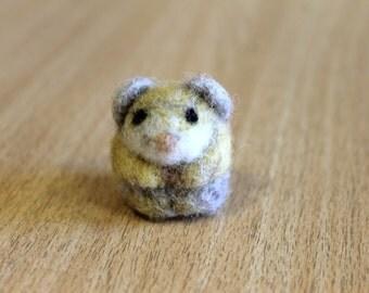 Tiny hamster,  needle felted wool miniature, soft sculpture, miniature art