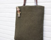 Tote bag,Woolen totes with Genuine Leather Handles, fall bag
