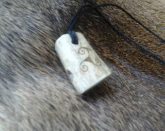 Druid Triskele Deer Antler Pendant