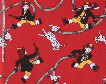 DeStash : Nick & Nora firemen dogs hoses red FLANNEL 1+ yard WASHED