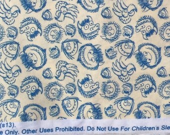 Where the Wild Things Are monster faces blue cream fabric FQ or more WASHED