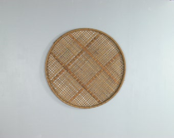 Rustic Boho Primitive Wicker Rice Sorting Basket // Wall Decor (Medium)