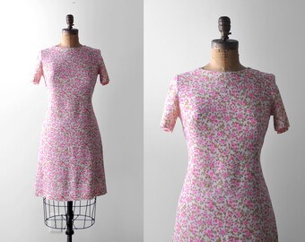 60 floral dress. pink. 1960's print dress. linen. white, green. s. 60's day dress. m