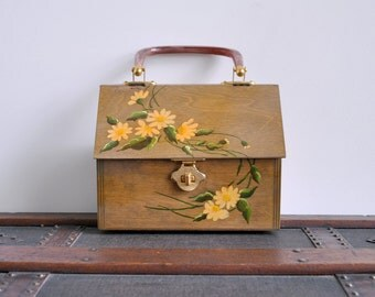 1970's box purse. wooden. 70's hand painted bag. top handle. yellow floral. brown. vintage handbag.