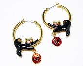 Black Cat Hoop Earrings for Pierced Ears - Dangling Jack O Lantern - Pre 1997 Modern Vintage Earrings - Halloween Jewelry - Fall Holidays