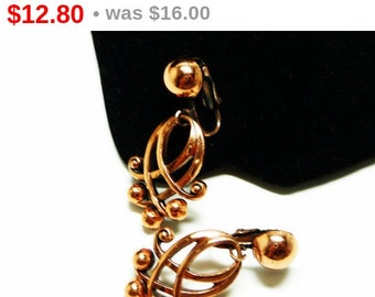 1950s Copper Earrings - Vintage Clip on Dangling Style - Mid Century Modern Design Lines