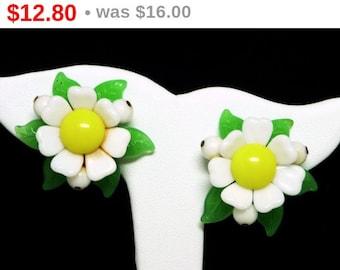 Western Germany Flower Earrings - Clip on Plastic Flowers - Yellow White & Green 1960's Flower Power European Jewelry - Mid Century Mod