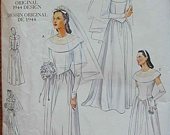 Vintage 1940's Design Misses' Elegant Bridal Dress, Wedding Gown, Vogue 2384 Sewing Pattern Sizes 6, 8, 10