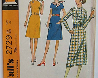 RARE Vintage 70's Misses' Half Size Basic Dress with Sleeve Variations McCall's 2729 Sewing Pattern UC Size 16 1/2, Bust 39""