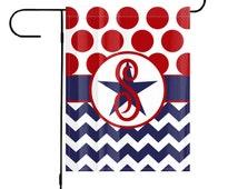 Chevron Polkadot Custom Personalized Garden Flag, Custom Garden Flag, Personalized Yard Art, Monogrammed Garden Flags, Patriotic Garden Flag