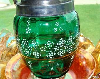 Green ANTIQUE Bohemian Czeh Glass BISQUIT Jar 1895