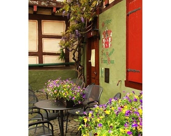 Fine Art Color Travel Photography of Cafe and Flowers in Bacharach, Germany