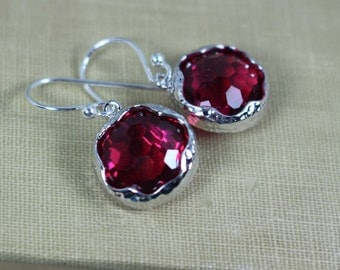 Red Crystal Earrings, Red Crystal Jewelry, Red Faceted Crystal Dangles, Ask Questions