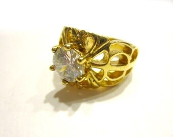 CZ Ring Wide 14K GE Costume Ring Size 8.5