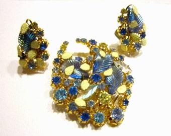 Vintage Molded Blue Glass Brooch Clip Earrings Set Vintage Rhinestone Enamel Brooch Set Designer High End Gift for Her Gift for Mom