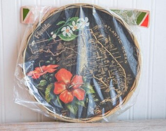 Florida Tray with Coasters, Vintage Souvenir Tray, Florida State Map,  Black and Gold, Organge Hibiscus, Florida Honeymoon, Tropical Decor