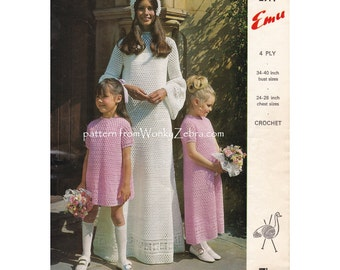 Vintage Crochet Pattern crochet bridal gown brides dress and bridesmaids dresses short and long versions PDF 888 from WonkyZebra