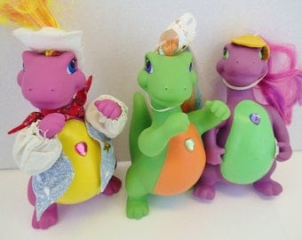 Darlin Dinos Dressy Sweet Talkers Lot 3 Posable Darling Dinosaurs Figurines Action Figure Doll Brushable Hair Pastel Neon 90s 80s Retro Toys