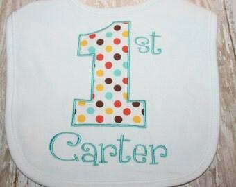 1st Birthday Baby Bib- Polka Dot Birthday Baby bib-Personalized Birthday Baby Bib-Monogram Baby Bib-First Birthday Bib-Boy baby bib- Girl