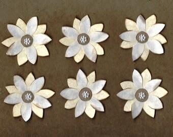 Handmade cream paper flower set