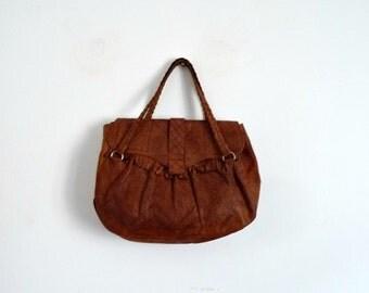 Vintage 70's Large Handbag Ethnic Bohemian Tooled Leather Brown