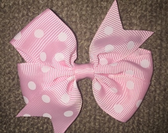 Light Pink pinwheel polka dot piggy tail hair bow (set of 2)