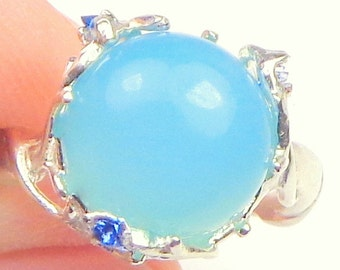 Sz 9, Chalcedny, Sterling Silver Ring, Sky Blue Opaque Gemstone, Vine Design Setting, Blue Accents, Natural Gemstone
