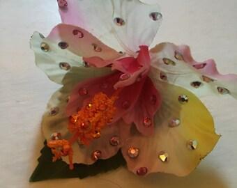 Rhinestone Hibiscus Hair Flower