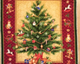 A Wonderful Old Time Christmas Around The Tree Holiday Fabric Panel Free US Shipping