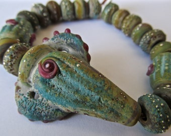 18 Ancient Maui Rose Bead Set Handmade by SRA  Sarah Klopping in MultiColored Glass with Enamels, Frits and  Fine Silver