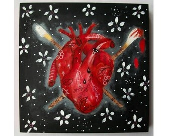 Original heart painting mixed media art painting on wood canvas 8x8 inches - An Artists Heart
