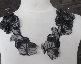 Cute embroidered  and beaded organza   flower  applique  black  color 2 piece