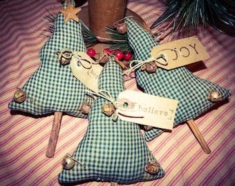 Green Homespun Primitive Christmas Tree Ornies With Tags On Cinnamon Sticks Set Of 3-FAAP-TEAM HaHa