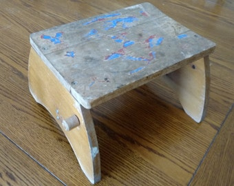 Primitive Wood Stepping Stool Rustic Child's Stool Mid-Century Decor Kid's Furniture