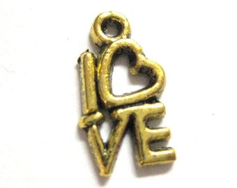 75% OFF - 20pcs Gold Love Charms - Word Box Beads - Valentine Day Pendants  082