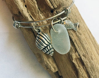 Sea Glass Charm Bangle