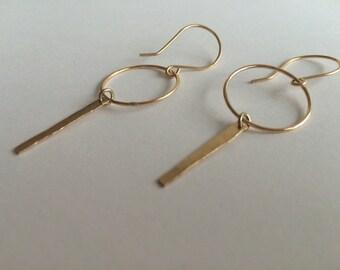 Gold Earrings Women's Gift Dangle Gold Earrings, Gold  Hoop Earrings