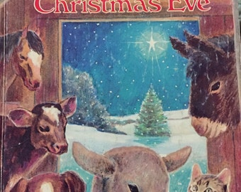 Animals Christmas Eve Little Golden Book 1977 printing illustrated animals baby Jesus children book, reading, bedtime story, collection