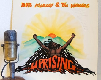 """Bob Marley Vinyl Record Album 1970s Reggae Music LP, """"Uprising""""(1980 Island Records Re-Issue w/""""Could You Be Loved"""")"""