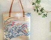 Obi / Kimono / Bag / GD886 Gorgeous Flower Embroidery Obi Tote Bag With Leather Handles