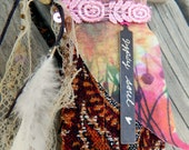 GYPSY SOUL Jewelry Boho Banner Necklaces Upcycled Fabric Pendants Prayer Flag Jewelry Crystal Pocket Necklace Hippie Adornment Gifts for Her