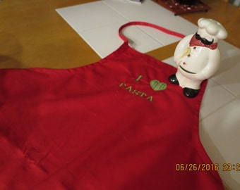 Red apron- I Love Pasta- Embroidered and appliqued