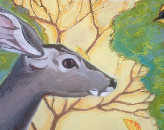 Watchful Warbler Bird and Deer Mixed Media Painting