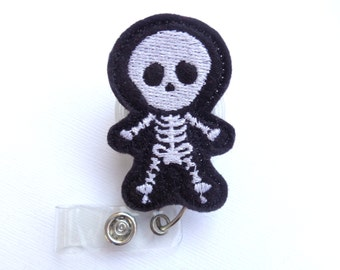 Radiology badge reel id holder - You See Right Through Me - black felt badge reel - Skeleton radiologist radiology Xray tech badge reel