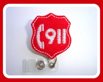 SALE - Badge reel - Badge Holder Retractable - 911 Dispatcher - red felt badge reel - id holder - emergency response medical badge reel